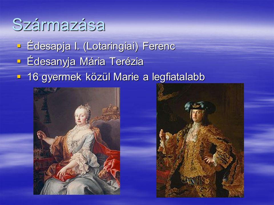 Származása Édesapja I. (Lotaringiai) Ferenc Édesanyja Mária Terézia