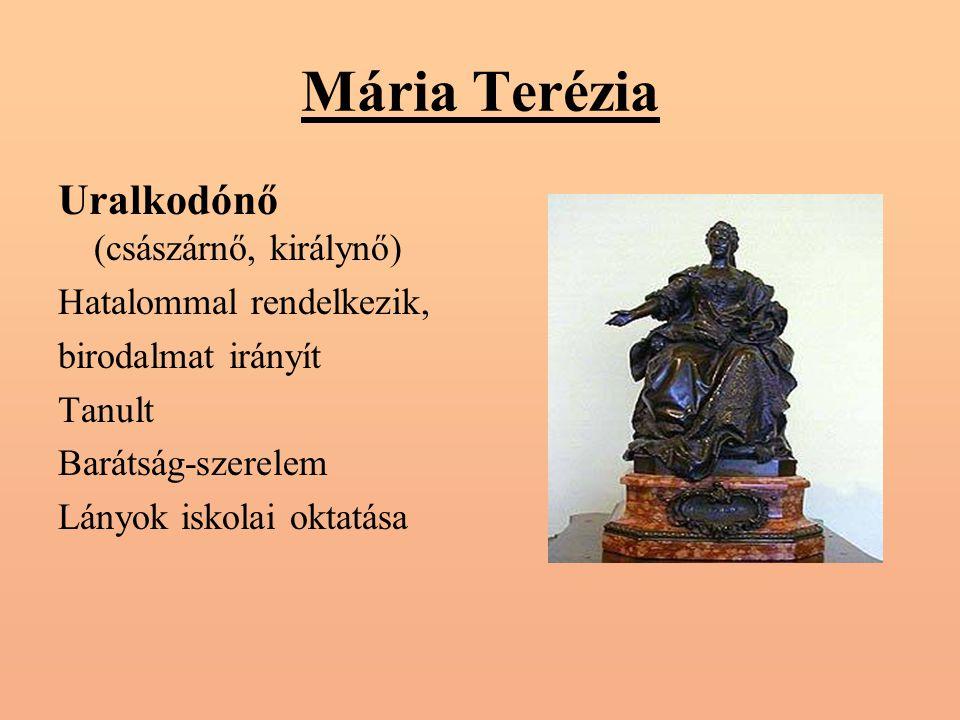 Mária Terézia Uralkodónő (császárnő, királynő) Hatalommal rendelkezik,