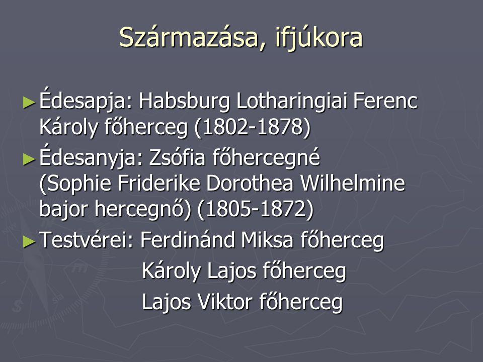 Származása, ifjúkora Édesapja: Habsburg Lotharingiai Ferenc Károly főherceg (1802-1878)