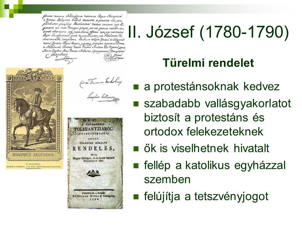 II. József (1780-1790) Türelmi rendelet