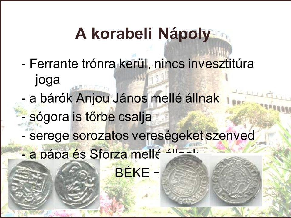 A korabeli Nápoly - Ferrante trónra kerül, nincs invesztitúra joga