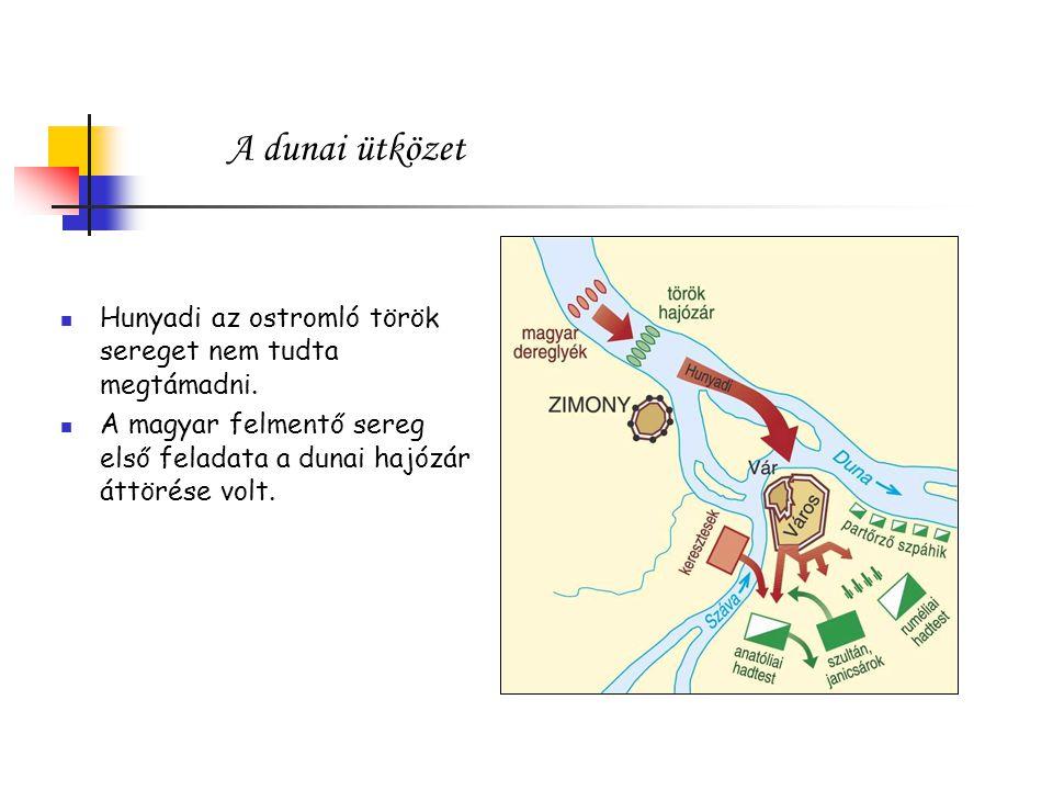 A dunai ütközet Hunyadi az ostromló török sereget nem tudta megtámadni.