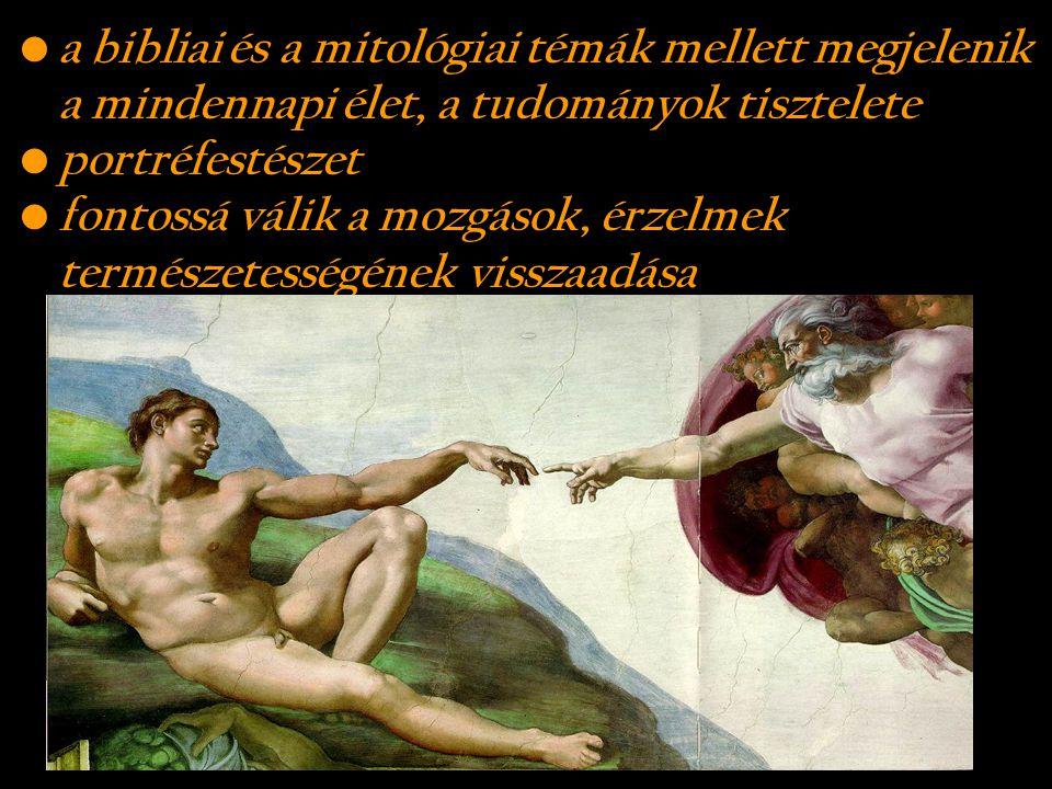 a bibliai és a mitológiai témák mellett megjelenik a mindennapi élet, a tudományok tisztelete