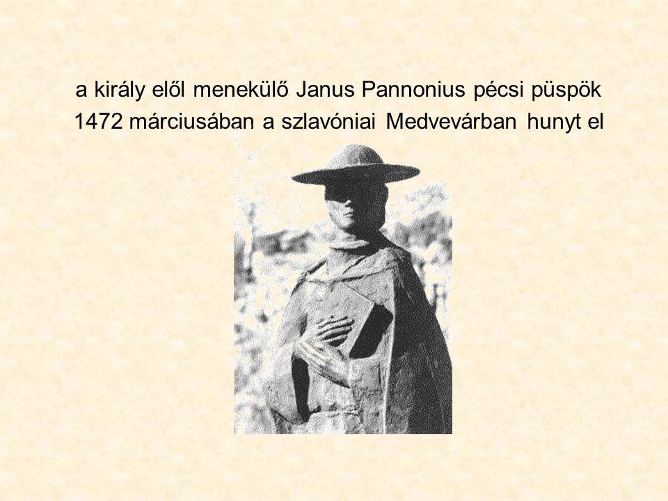 a király elől menekülő Janus Pannonius pécsi püspök