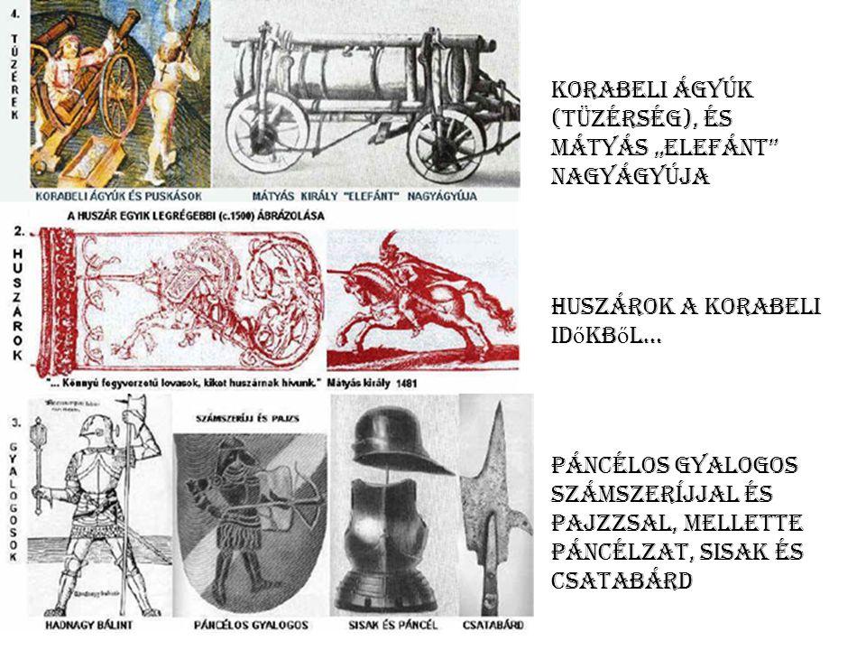 """Korabeli ágyúk (tüzérség), és Mátyás """"elefánt nagyágyúja"""