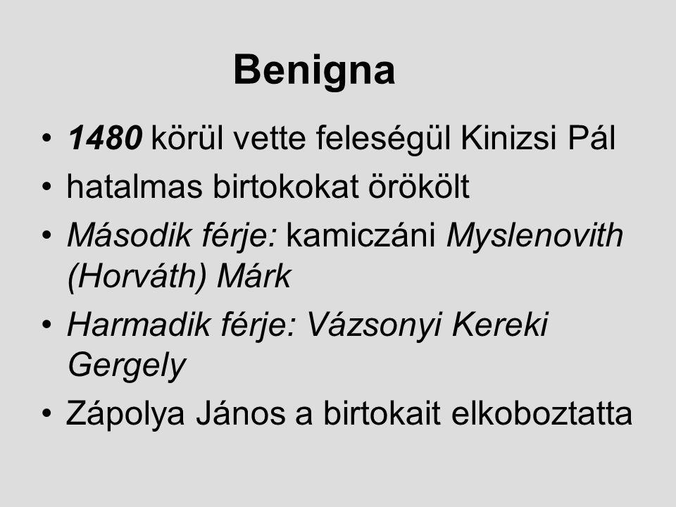 Benigna 1480 körül vette feleségül Kinizsi Pál