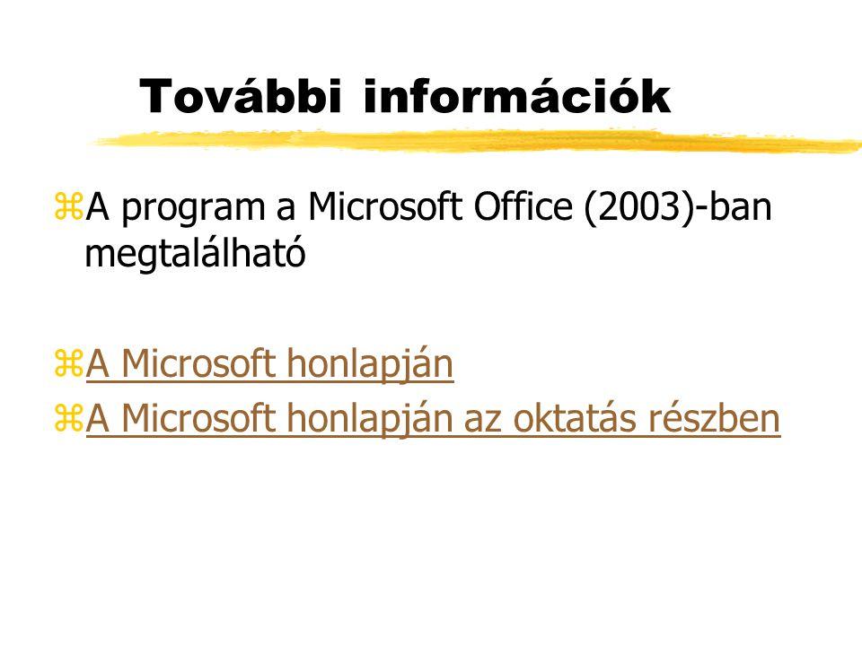 További információk A program a Microsoft Office (2003)-ban megtalálható.