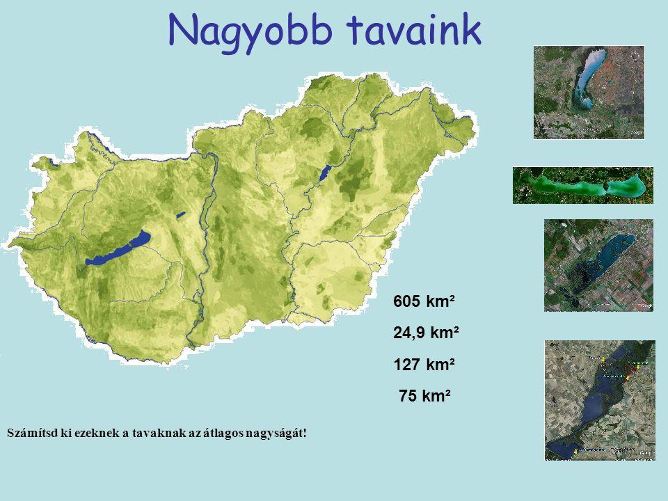 Nagyobb tavaink 605 km² 24,9 km² 127 km² 75 km²