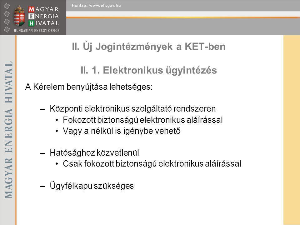 II. Új Jogintézmények a KET-ben II. 1. Elektronikus ügyintézés
