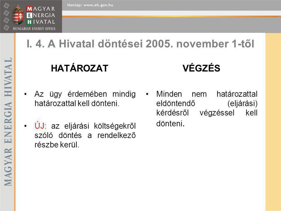I. 4. A Hivatal döntései 2005. november 1-től