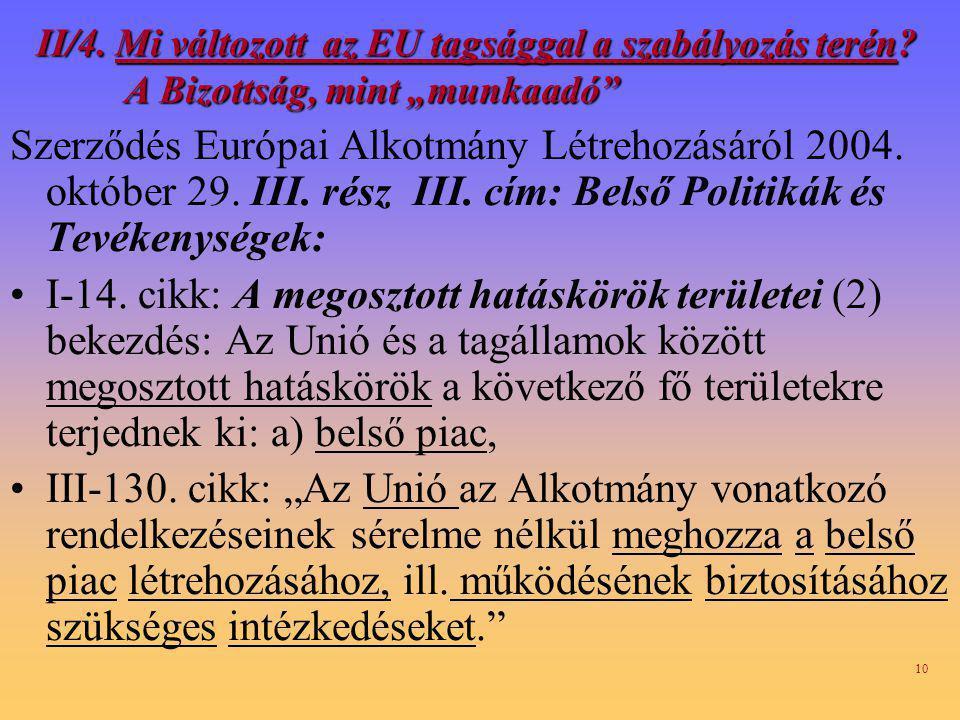 II/4. Mi változott az EU tagsággal a szabályozás terén