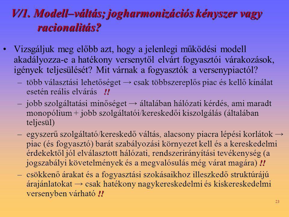V/1. Modell–váltás; jogharmonizációs kényszer vagy racionalitás