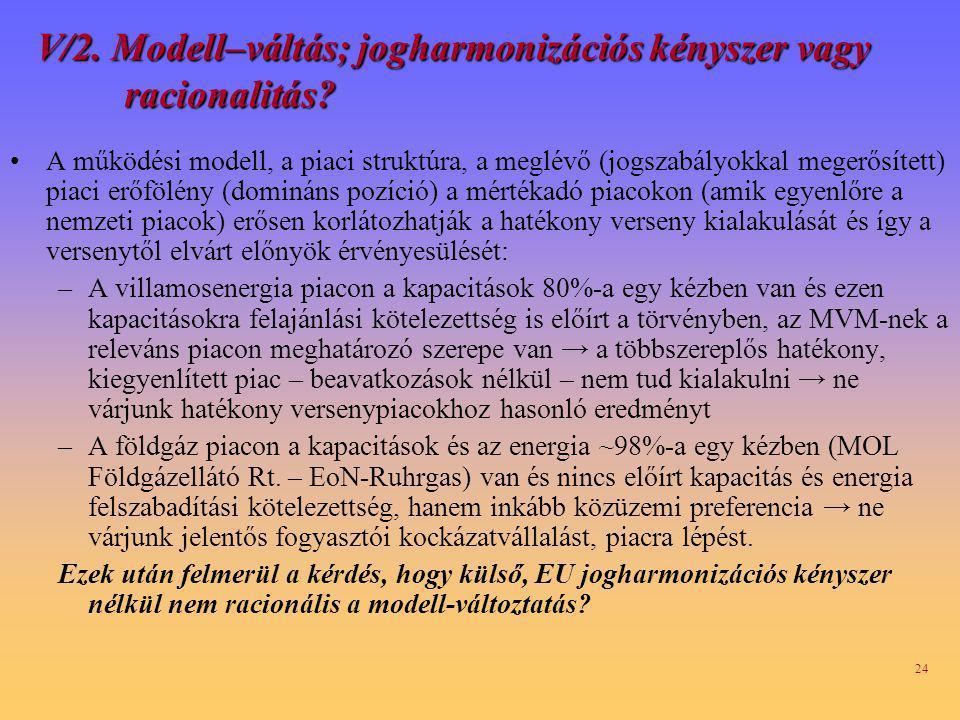 V/2. Modell–váltás; jogharmonizációs kényszer vagy racionalitás