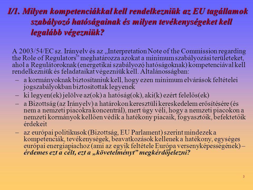 I/1. Milyen kompetenciákkal kell rendelkezniük az EU tagállamok szabályozó hatóságainak és milyen tevékenységeket kell legalább végezniük
