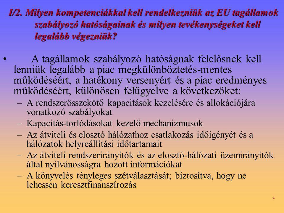 I/2. Milyen kompetenciákkal kell rendelkezniük az EU tagállamok szabályozó hatóságainak és milyen tevékenységeket kell legalább végezniük