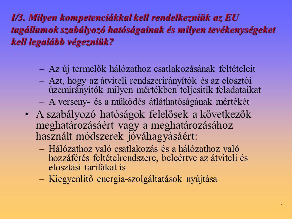 I/3. Milyen kompetenciákkal kell rendelkezniük az EU tagállamok szabályozó hatóságainak és milyen tevékenységeket kell legalább végezniük