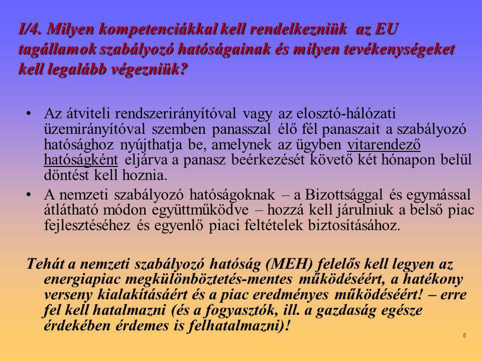 I/4. Milyen kompetenciákkal kell rendelkezniük az EU tagállamok szabályozó hatóságainak és milyen tevékenységeket kell legalább végezniük
