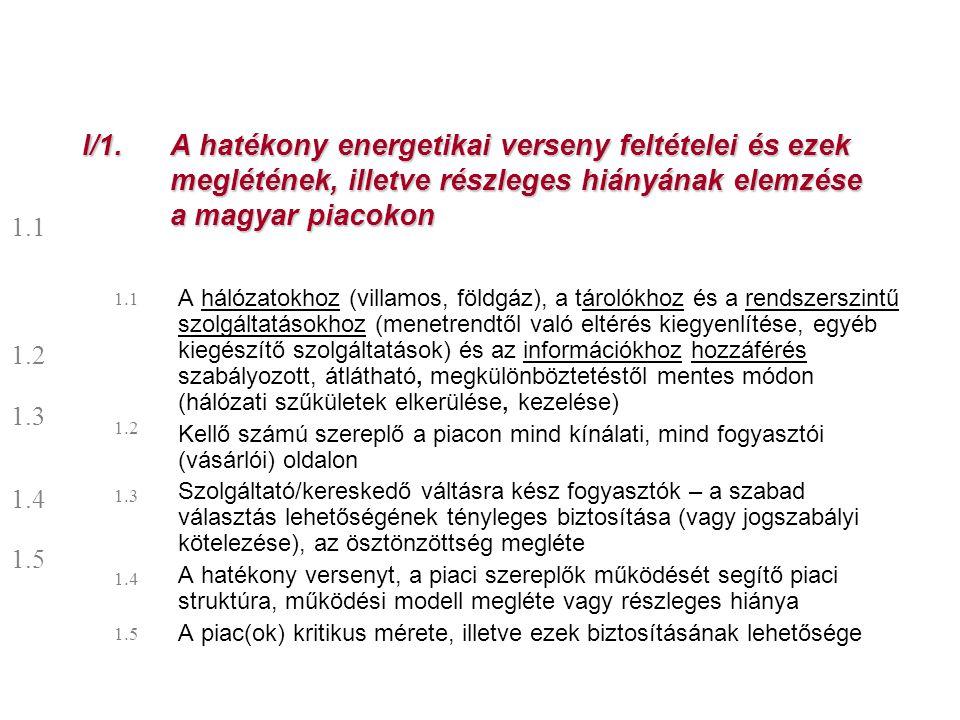 I/1. A hatékony energetikai verseny feltételei és ezek meglétének, illetve részleges hiányának elemzése a magyar piacokon
