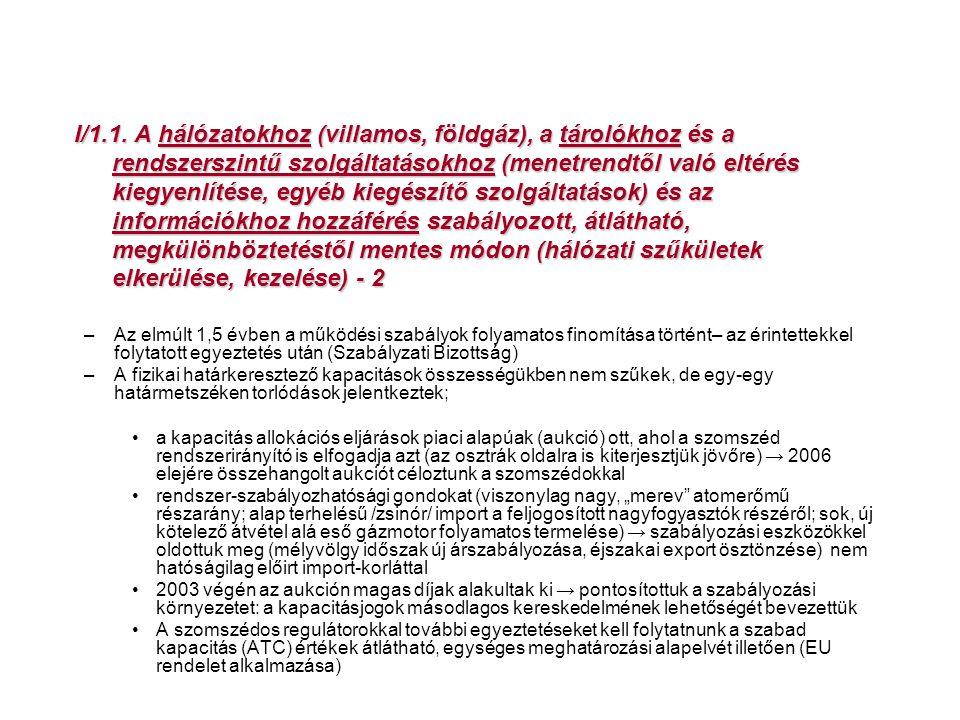 I/1.1. A hálózatokhoz (villamos, földgáz), a tárolókhoz és a rendszerszintű szolgáltatásokhoz (menetrendtől való eltérés kiegyenlítése, egyéb kiegészítő szolgáltatások) és az információkhoz hozzáférés szabályozott, átlátható, megkülönböztetéstől mentes módon (hálózati szűkületek elkerülése, kezelése) - 2