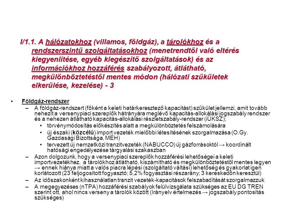 I/1.1. A hálózatokhoz (villamos, földgáz), a tárolókhoz és a rendszerszintű szolgáltatásokhoz (menetrendtől való eltérés kiegyenlítése, egyéb kiegészítő szolgáltatások) és az információkhoz hozzáférés szabályozott, átlátható, megkülönböztetéstől mentes módon (hálózati szűkületek elkerülése, kezelése) - 3