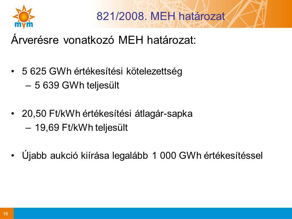 821/2008. MEH határozat Árverésre vonatkozó MEH határozat: