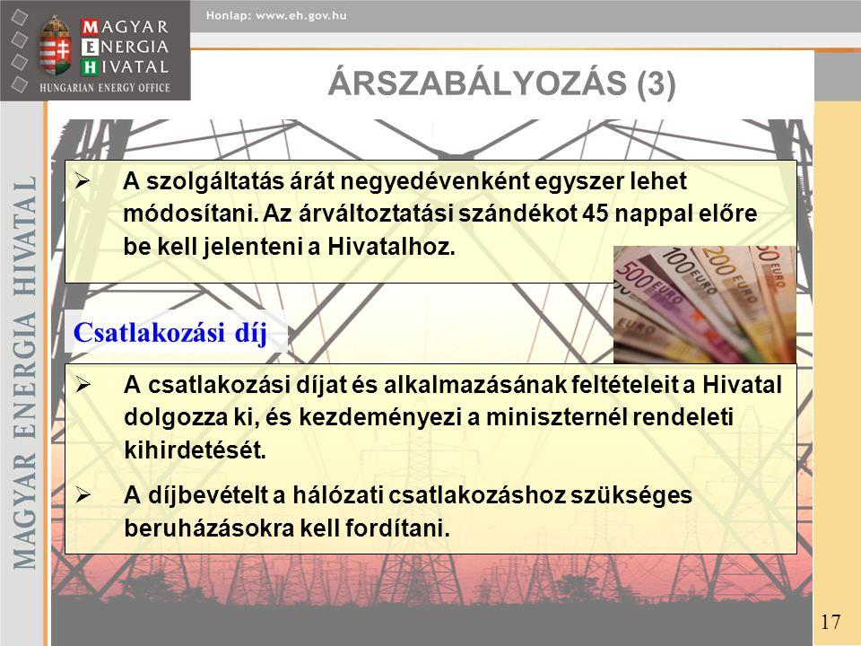 ÁRSZABÁLYOZÁS (3) Csatlakozási díj