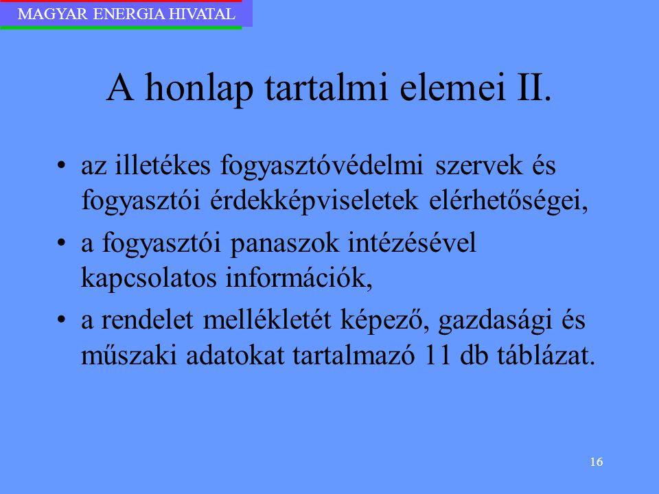 A honlap tartalmi elemei II.