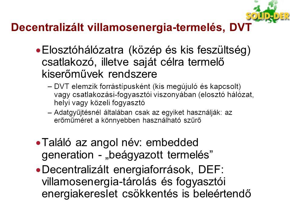 Decentralizált villamosenergia-termelés, DVT