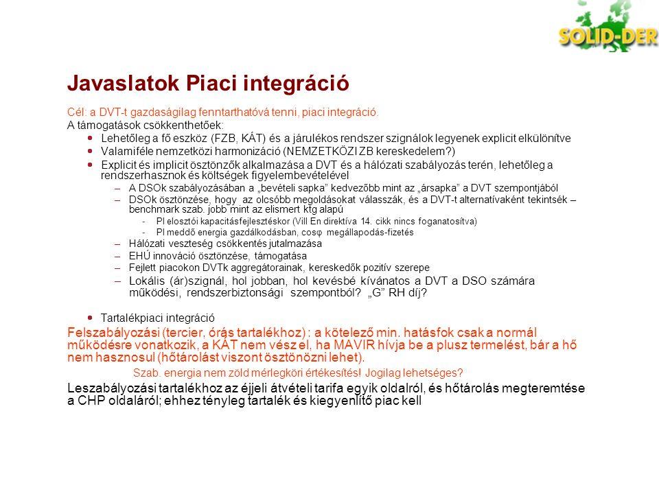 Javaslatok Piaci integráció