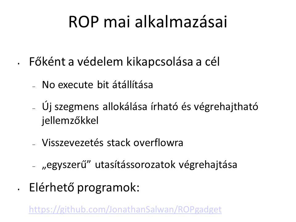 ROP mai alkalmazásai Főként a védelem kikapcsolása a cél