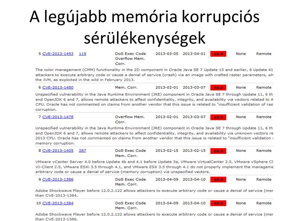 A legújabb memória korrupciós sérülékenységek