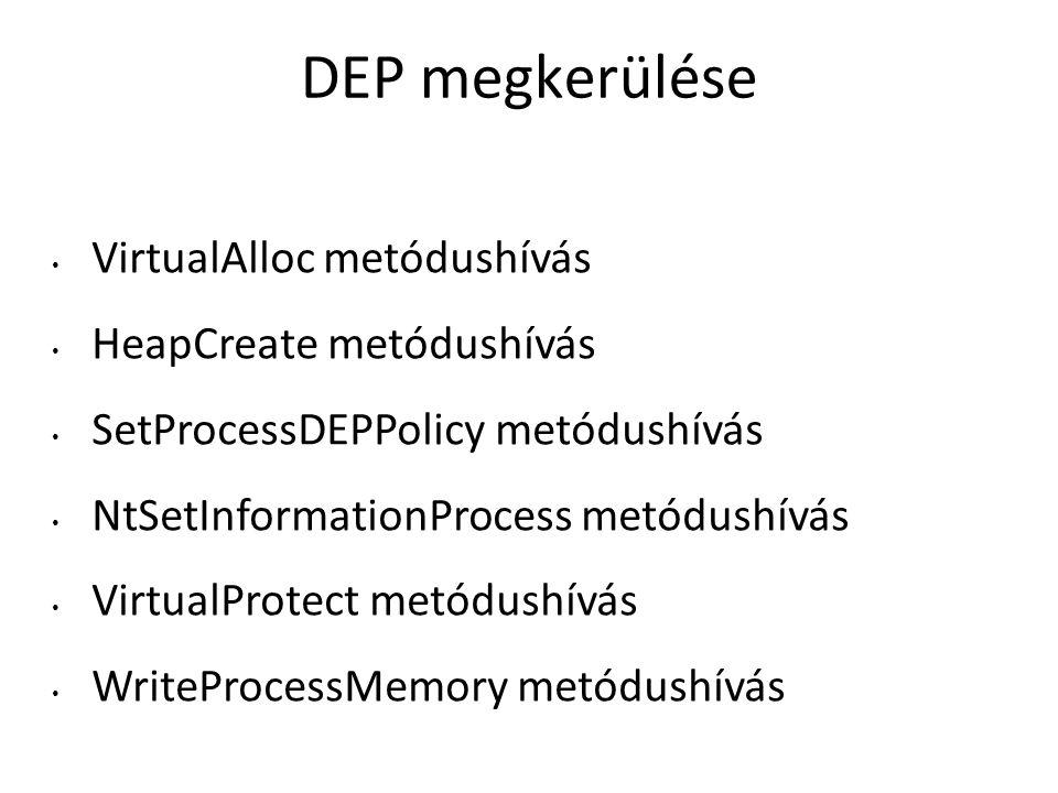 DEP megkerülése VirtualAlloc metódushívás HeapCreate metódushívás