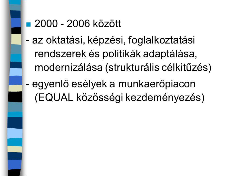 2000 - 2006 között - az oktatási, képzési, foglalkoztatási rendszerek és politikák adaptálása, modernizálása (strukturális célkitűzés)