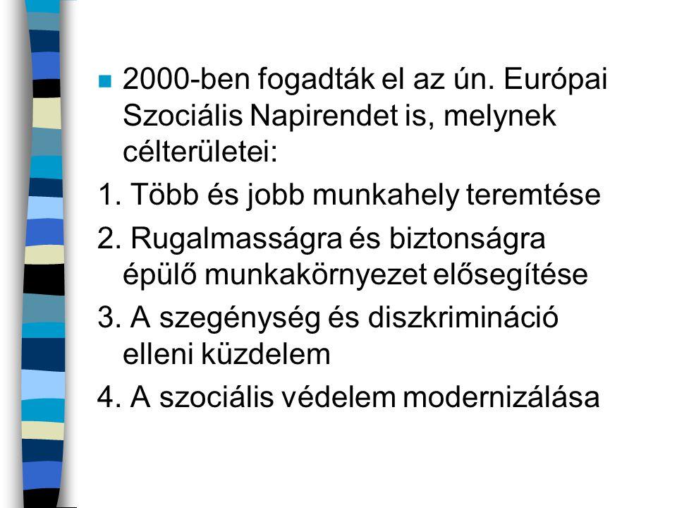 2000-ben fogadták el az ún. Európai Szociális Napirendet is, melynek célterületei:
