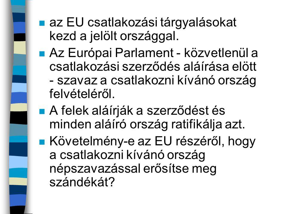 az EU csatlakozási tárgyalásokat kezd a jelölt országgal.