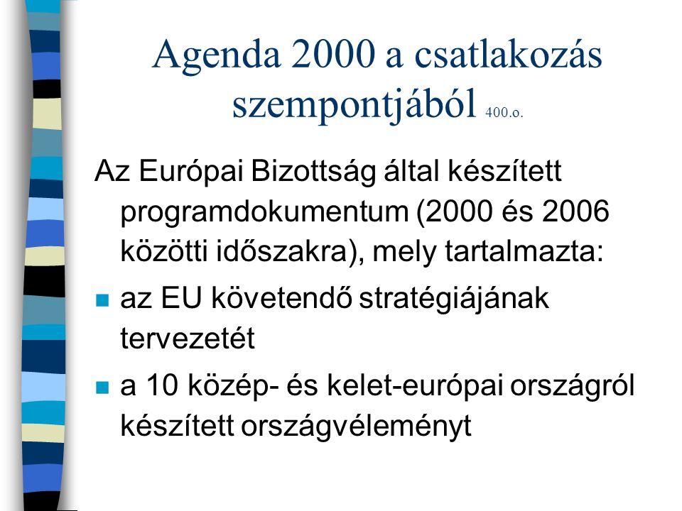 Agenda 2000 a csatlakozás szempontjából 400.o.