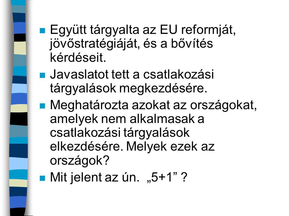 Együtt tárgyalta az EU reformját, jövőstratégiáját, és a bővítés kérdéseit.