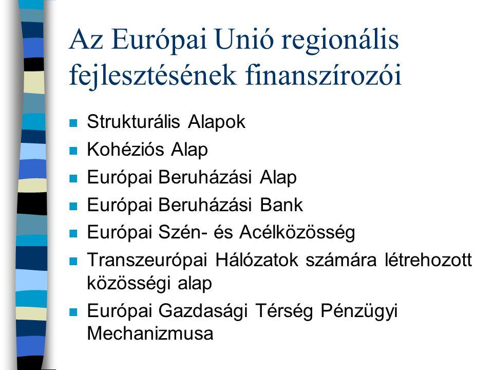 Az Európai Unió regionális fejlesztésének finanszírozói