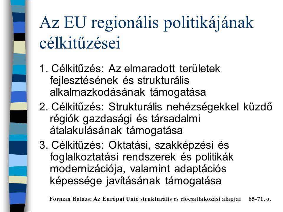 Az EU regionális politikájának célkitűzései