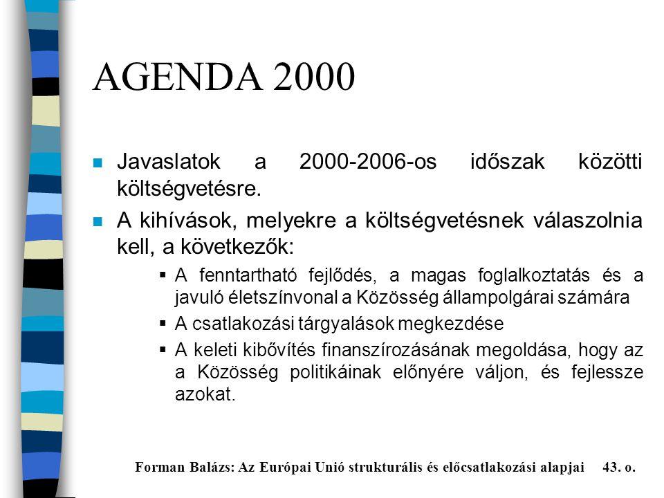 AGENDA 2000 Javaslatok a 2000-2006-os időszak közötti költségvetésre.