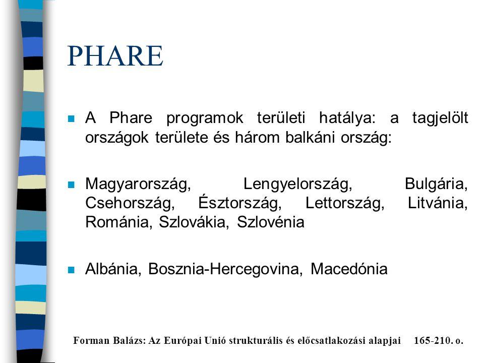 PHARE A Phare programok területi hatálya: a tagjelölt országok területe és három balkáni ország: