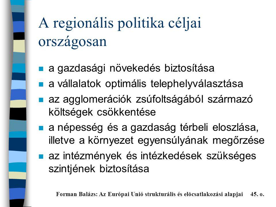 A regionális politika céljai országosan