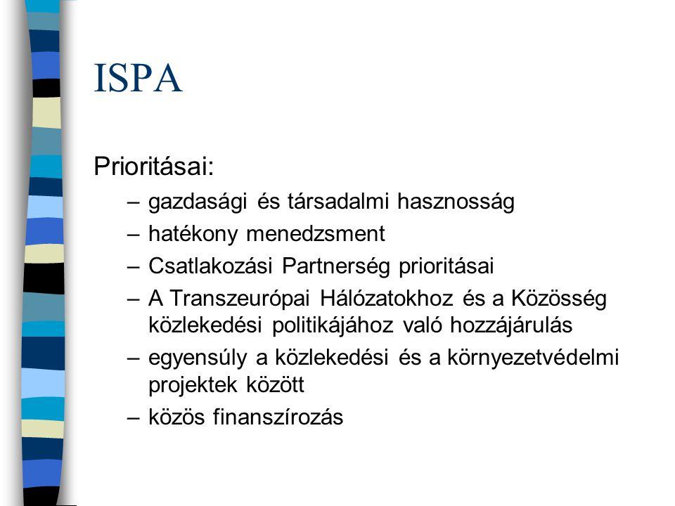 ISPA Prioritásai: gazdasági és társadalmi hasznosság