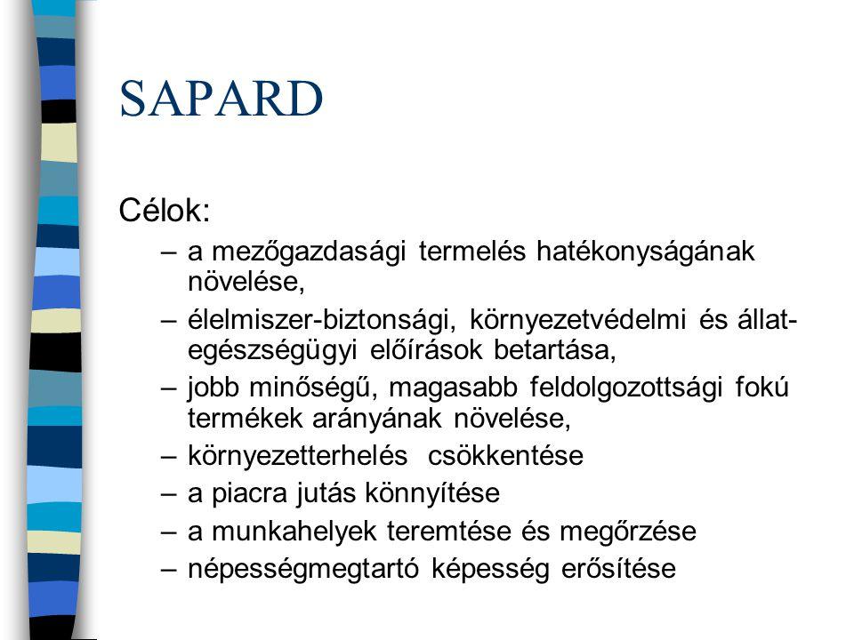 SAPARD Célok: a mezőgazdasági termelés hatékonyságának növelése,