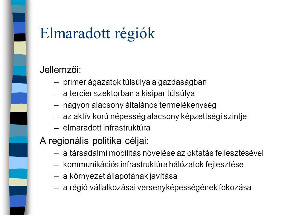 Elmaradott régiók Jellemzői: A regionális politika céljai: