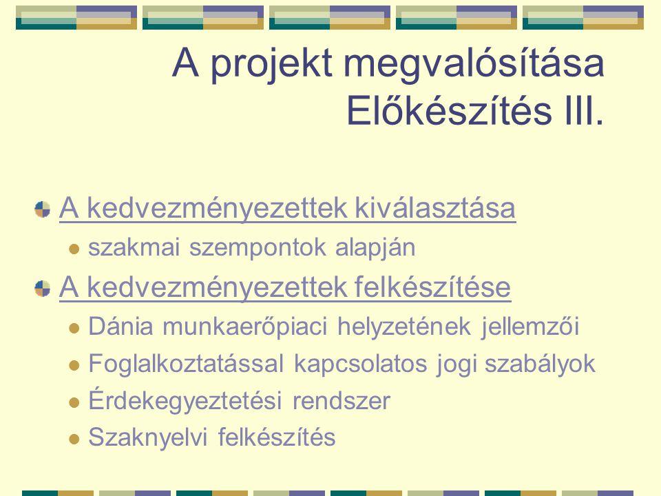 A projekt megvalósítása Előkészítés III.
