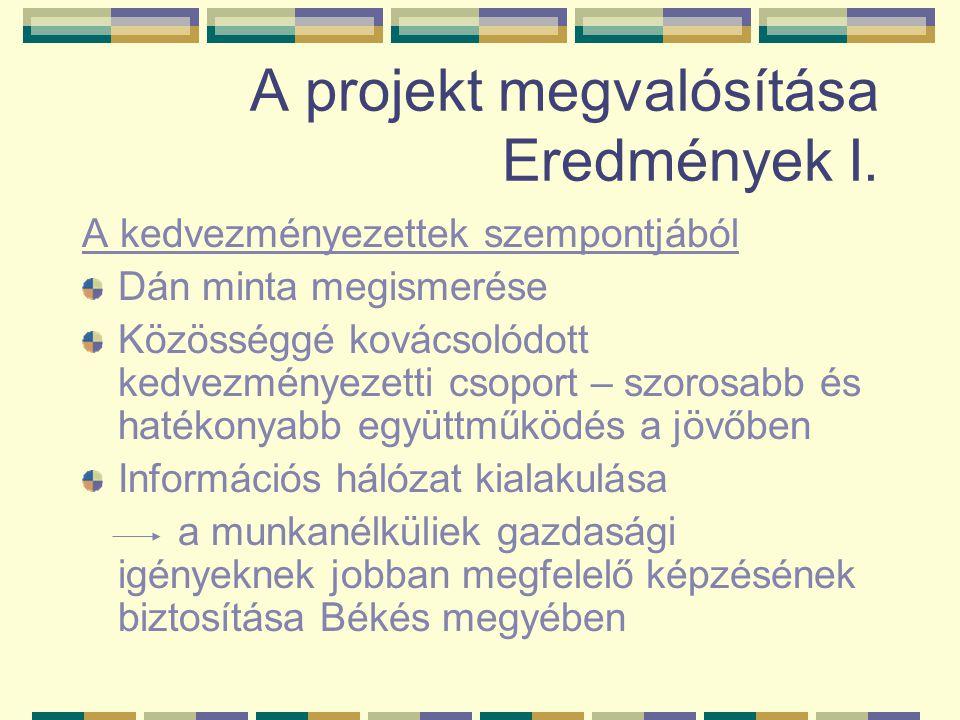 A projekt megvalósítása Eredmények I.