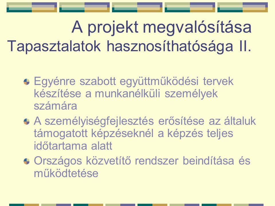 A projekt megvalósítása Tapasztalatok hasznosíthatósága II.