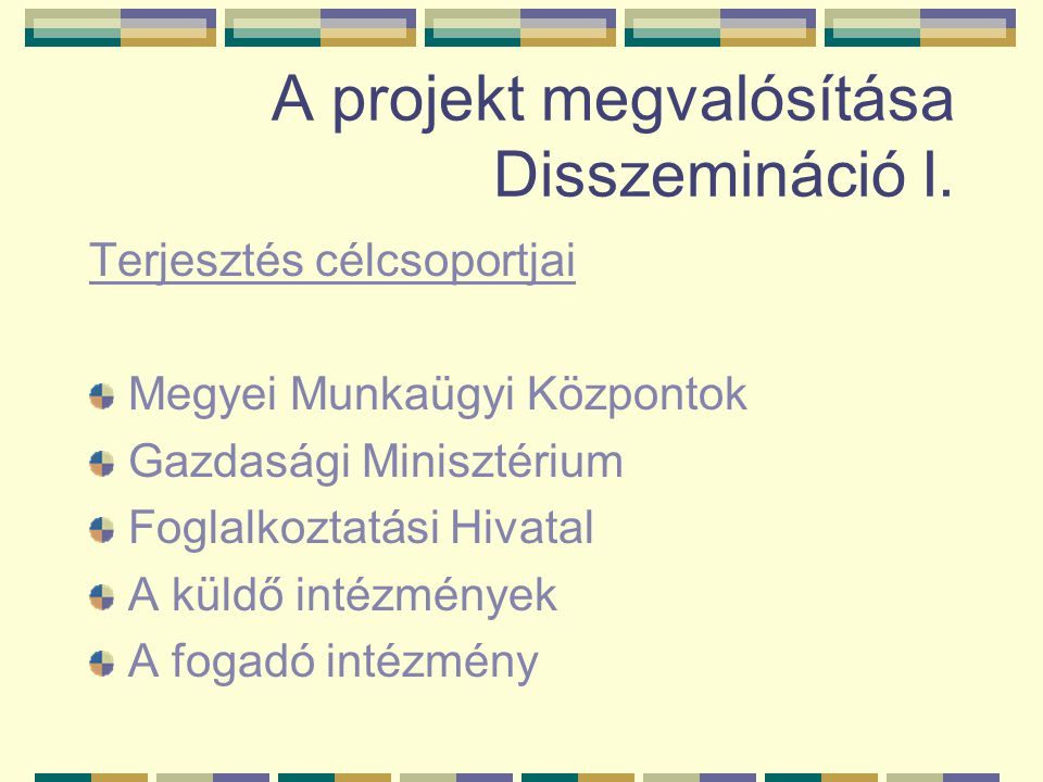 A projekt megvalósítása Disszemináció I.