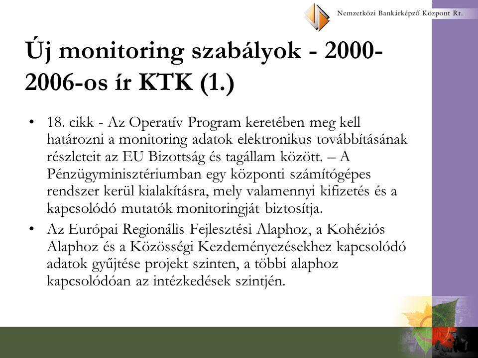 Új monitoring szabályok - 2000-2006-os ír KTK (1.)